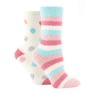 Pack of two pink spotted and striped socks