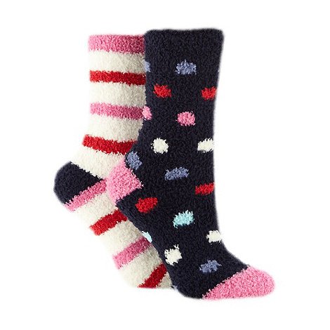 Lounge & Sleep - Pack of two navy spotted and striped socks