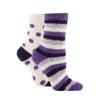 Pack of two purple stirpe and spot slipper socks