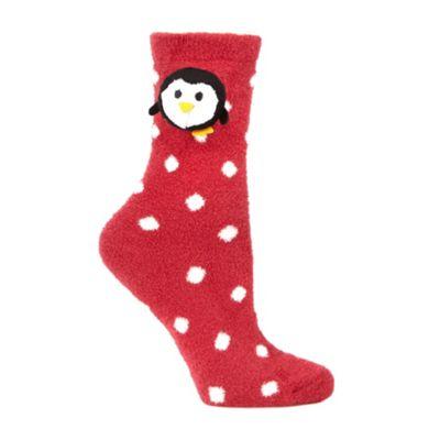Dark pink novelty penguin fleece socks