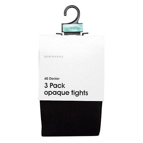 Debenhams - Pack of three black 40D opaque tights