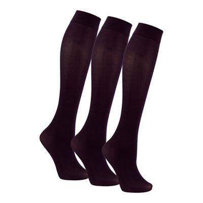 Pack of three black 40D knee highs