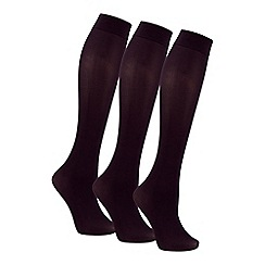 Debenhams - Pack of 3 black knee high socks