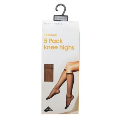 Pack of five natural 15D knee highs