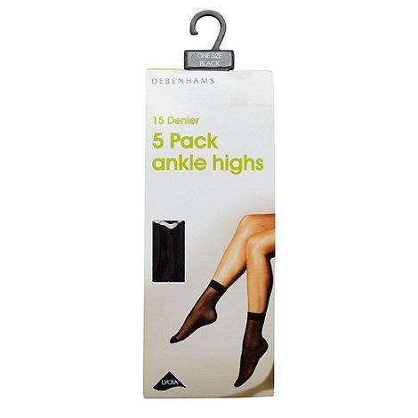 Debenhams - Pack of five black 15D ankle highs