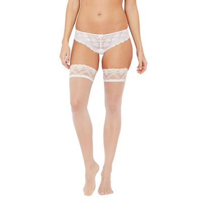 Designer ivory 10 Denier lace hold ups with bow detail