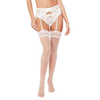 Designer cream 10D sheer lace hold ups