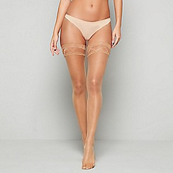 J by Jasper Conran - Natural 10 denier sheer lace top hold-ups