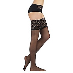 Reger by Janet Reger - Designer black sheer 10D lace top hold ups