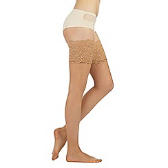 Reger by Janet Reger - Designer nude sheer 10D lace top hold ups