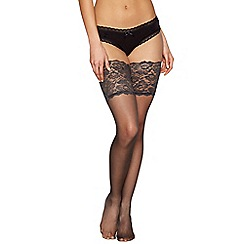 Reger by Janet Reger - Designer metallic sheer 10D lace top hold ups