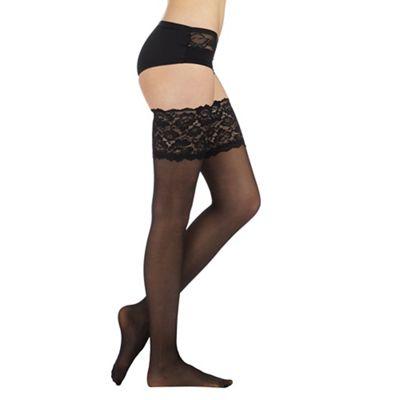 Designer black sheer 15D lace top hold ups