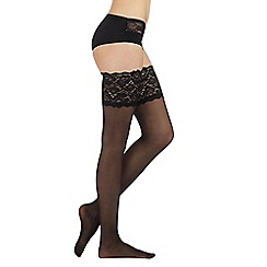 Reger by Janet Reger - Designer black sheer 15D lace top hold ups