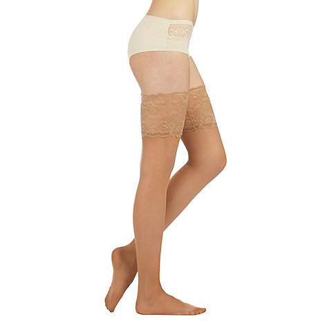 Reger by Janet Reger - Designer nude sheer 15D lace top hold ups