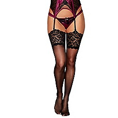 Reger by Janet Reger - Designer black sheer 10D lace top stockings