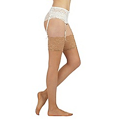 Reger by Janet Reger - Designer natural sheer 10D lace stockings