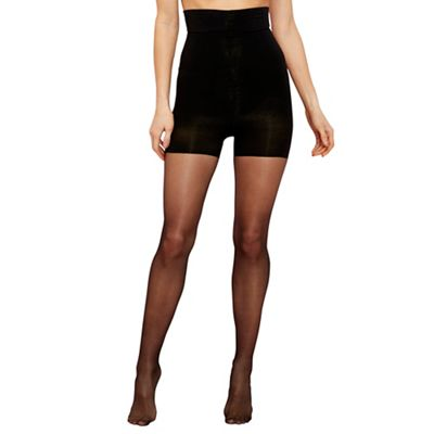 Black sheer firm control high waist shaping tight