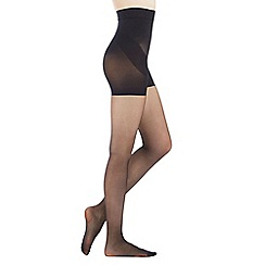 Debenhams - Black 10 denier firm control tum bum and thigh tights