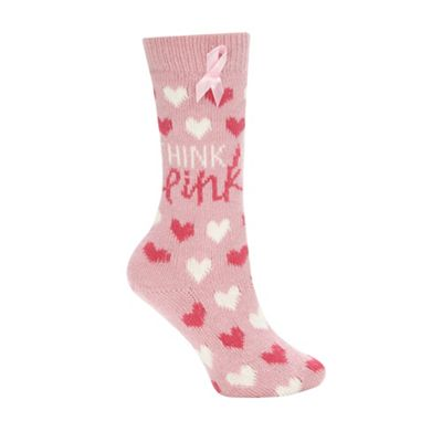 Pink metallic heart knitted socks