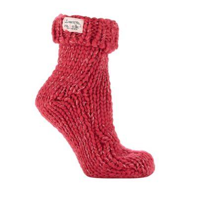 Pink metallic knit socks