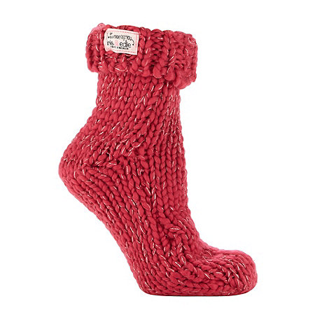 Iris & Edie - Pink metallic knit socks