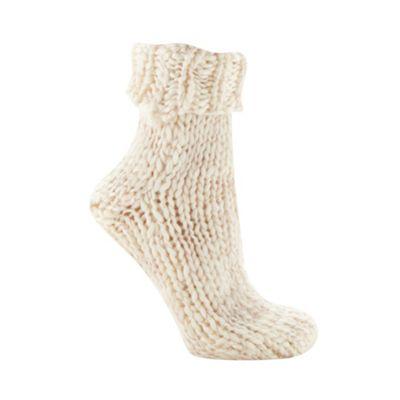Cream chunky metallic knit socks