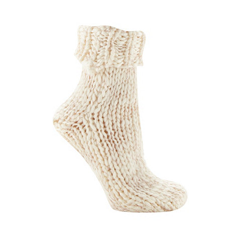 Iris & Edie - Cream chunky metallic knit socks