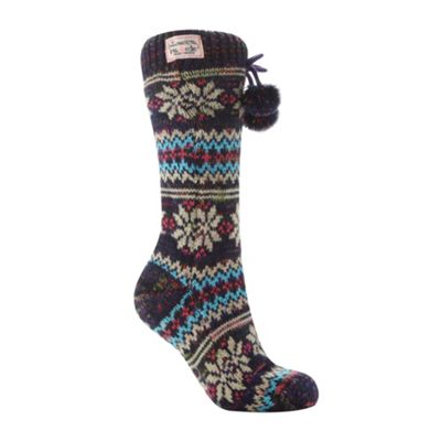 Navy chunky fairisle knit slipper socks