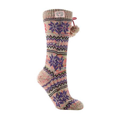 Iris & Edie - Beige chunky snowflake knit slipper socks