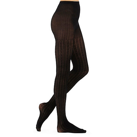 J by Jasper Conran - Designer black cable knit 100D opaque tights