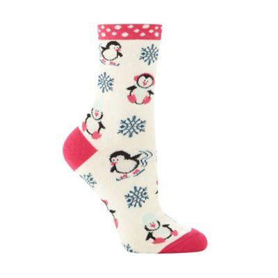 Cream penguin socks