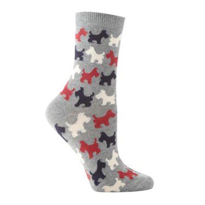 Grey dog patterned ankle socks