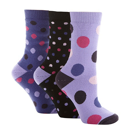 Jennifer Anderton - Pack of three black spotted thermal socks