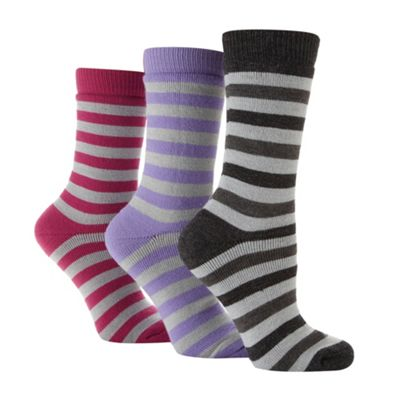 Pack of three grey striped thermal socks