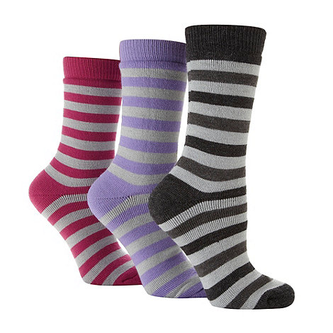 Jennifer Anderton - Pack of three grey striped thermal socks