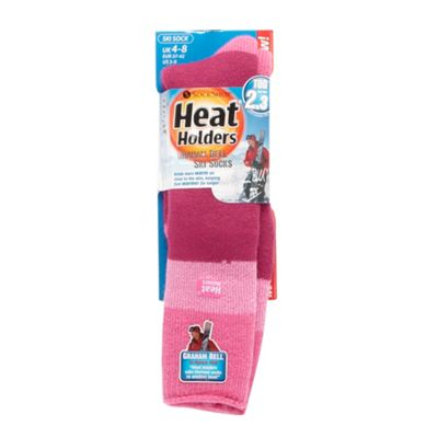 Pink thermal Heat Holders striped ski socks