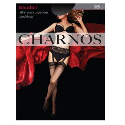 Black boudoir 15D all in one suspender stockings