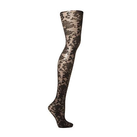 Pamela Mann - Black net baroque twill tights