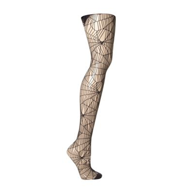 Black cobweb net tights
