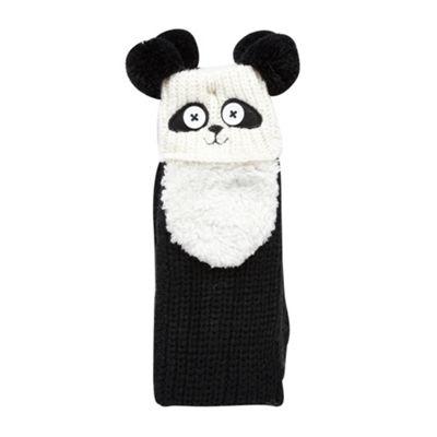 Black panda face slipper socks