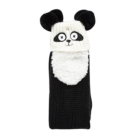 Lounge & Sleep - Black panda face slipper socks