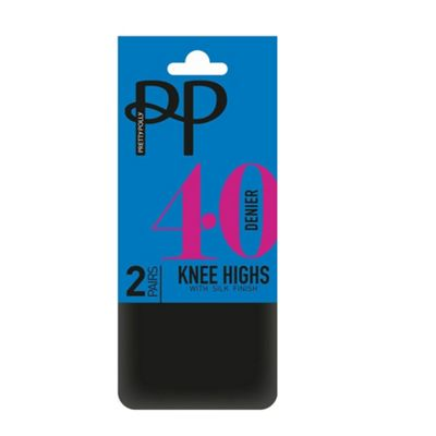 Pack of two black 40D opaque knee high socks