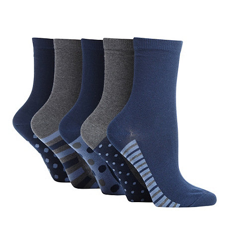 Debenhams - Pack of five navy and grey patterned ankle socks