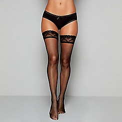 J by Jasper Conran - Black sheer net lace hold-ups