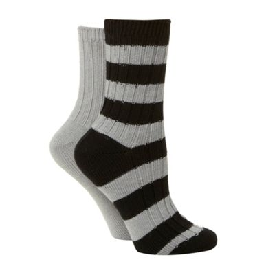 Pack of two grey thermal striped ankle socks