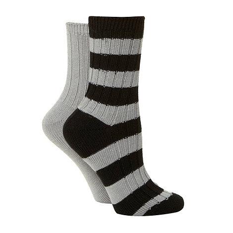 Debenhams - Pack of two grey thermal striped ankle socks