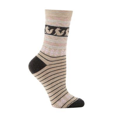 Beige sparkle axtec socks