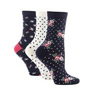Pack of three navy floral and spotted socks