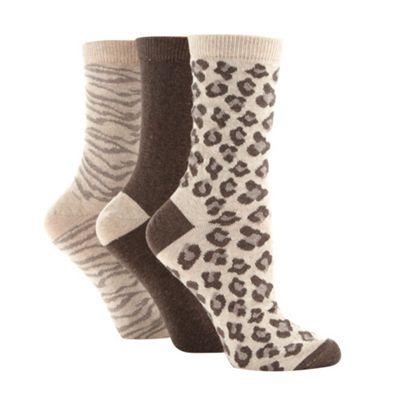 Pack of three brown animal print socks