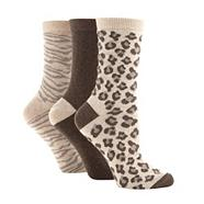 Pack of three brown animal print socks
